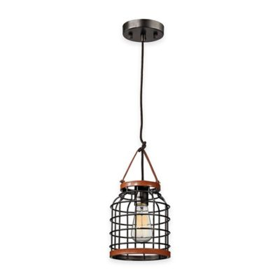 Elk Lighting Purcell 13-Inch 1-Light Pendant in Weathered Iron