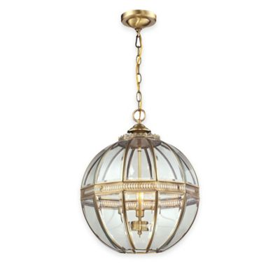 Elk Lighting Randolph 3-Light Pendant in Brushed Brass with Glass Shade