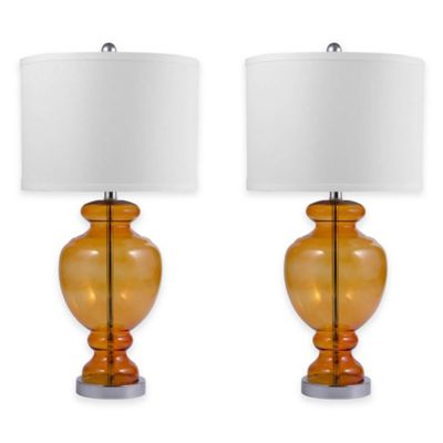 Abbyson Living® Crystal Glass Table Lamps in Orange (Set of 2)
