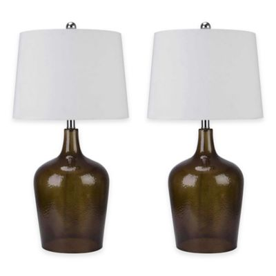 Abbyson Living® Delmore Glass Table Lamps in Smoke (Set of 2)