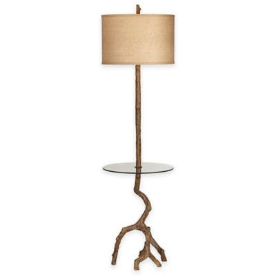 Pacific Coast® Lighting Beachwood Floor Lamp in Brown with Burlap Drum Shade