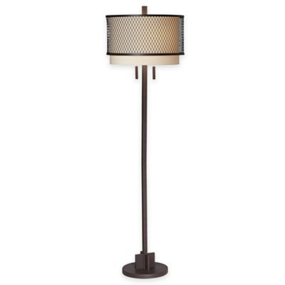 Pacific Coast® Lighting Mesh Collection Industrial Floor Lamp with Drum Shade in Brown