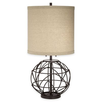 Pacific Coast® Lighting Alloy Globe Table Lamp in Bronze with Drum Shade