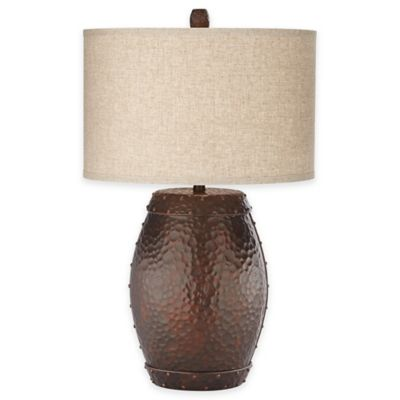 Pacific Coast® Lighting Emory Faux Metal Barrel Table Lamp in Antique Copper