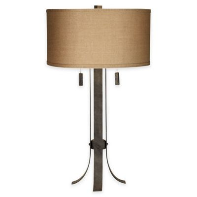 Pacific Coast® Lighting Pullman 2-Light Table Lamp in Grey with Burlap Shade
