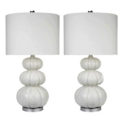 Abbyson Living® Stacked Sea Urchin Table Lamps in White (set of 2)