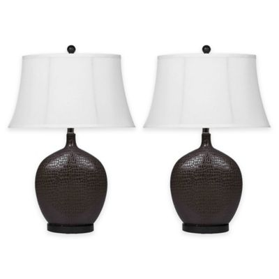 Abbyson Living® Alligator Ceramic Table Lamp in Brown (Set of 2)