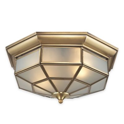 ELK Lighting Linoka 2-Light Flush-Mount Fixture in Brushed Brass with Frosted Glass Shade