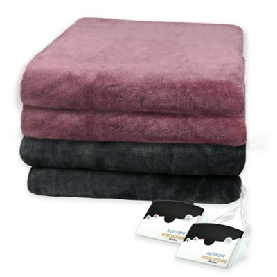 Biddeford® Heather Two-Tone Velour Heated Full Blanket in Red