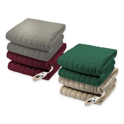 Biddeford® Micro-Mink Waffle Weave Heated Throw Blanket in Hunter