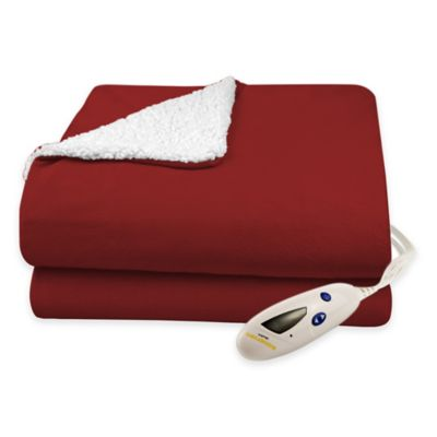 Biddeford® Solid Velour Heated Blanket with Sherpa Lining in Wine