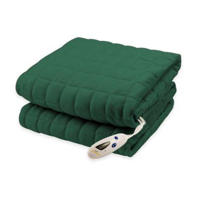 Biddeford® Micro-Mink Waffle Weave Heated Throw Blanket in Hunter