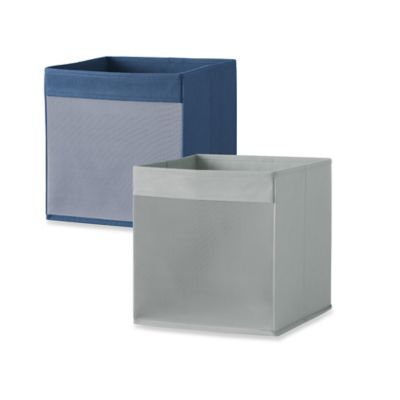 Real Simple® Mesh Front Foldable Storage Bin in Navy