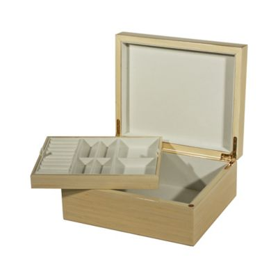 High Polished Jewelry Box with Lift-Out Tray in Tan
