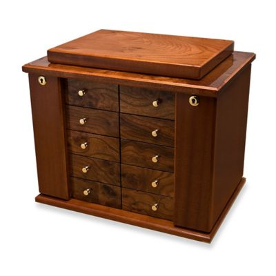 High Polished 8-Drawer Burlwood Jewelry Box in Brown