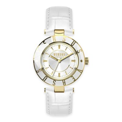 Versus by Versace Ladies' Logo Watch in Goldtone Stainless Steel w/ White Leather Strap