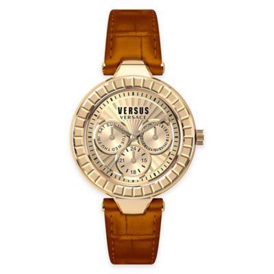 Versus by Versace Ladies' 38mm Sertie Watch in Rose Goldtone Stainless Steel w/ Brown Leather Strap