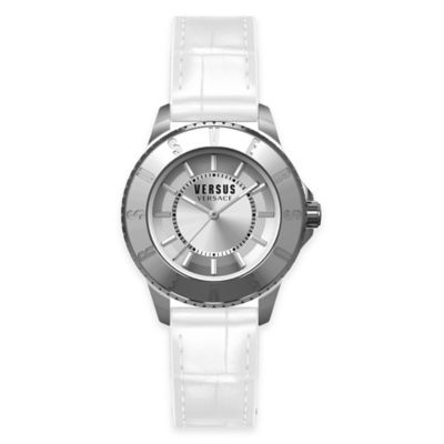 Versus by Versace Ladies' 38mm Toyko Watch in Stainless Steel w/ White Leather Strap