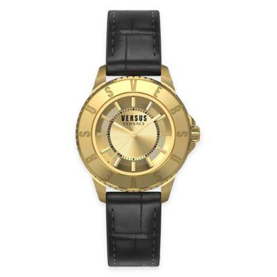 Versus by Versace Ladies' 38mm Tokyo Watch in Goldtone Stainless Steel w/ Black Leather Strap