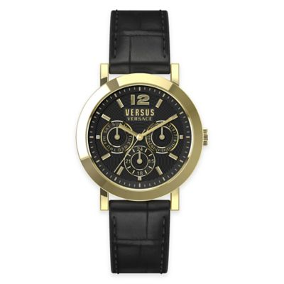 Versus by Versace Ladies' 37mm Manhasset Watch in Goldtone Stainless Steel w/ Black Leather Strap