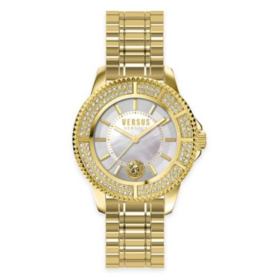 Versus by Versace Ladies' 38mm Tokyo Crystal Watch in Goldtone SS with Mother of Pearl Dial