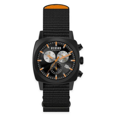Versus by Versace Men's 40mm Chronograph Riverdale Watch in Black Stainless Steel with Canvas Strap