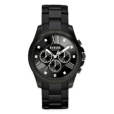 Versus by Versace Men's 44mm Chronograph Lion Watch in Black Stainless Steel
