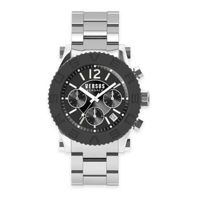 Versus by Versace Men's 42mm Chronograph Madison Watch in Stainless Steel w/ Black Bezel