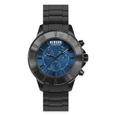 Versus by Versace Men's 44mm Tokyo Chronograph Watch in Black Stainless Steel w/Blue Dial