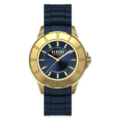 Versus by Versace Men's 42mm Toyko Watch in Goldtone Stainless Steel w/Navy Blue Rubber Strap