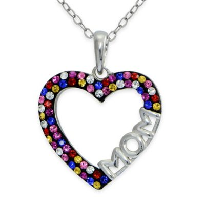 """Sterling Silver Multicolor Crystal 18-Inch Chain Open Heart """"Mom"""" Pendant Necklace"""