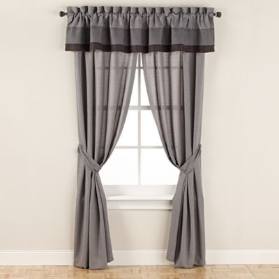 Manor Hill® Lowery 8-Inch Rod Pocket Sheer Window Curtain Panel Pair in Medium Grey
