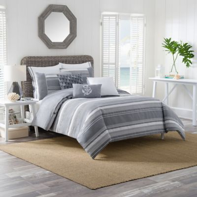 Harbor Striped Twin Duvet Cover Set in Grey