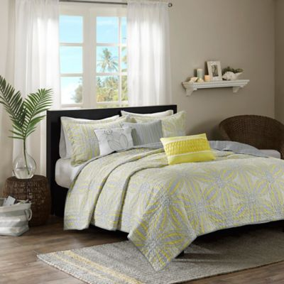 Madison Park Caicos Quilted King Coverlet Set in Yellow