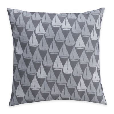 Harbor Sailboat Square Throw Pillow in Grey