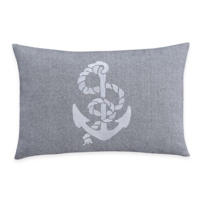 Harbor Drop Anchor Oblong Throw Pillow in Grey
