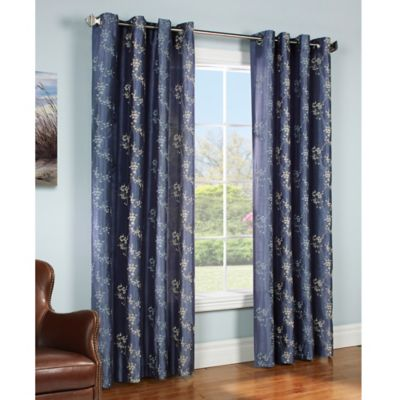 Commonwealth Home Fashions Josephina 84-Inch Grommet Top Window Curtain Panel in Blue