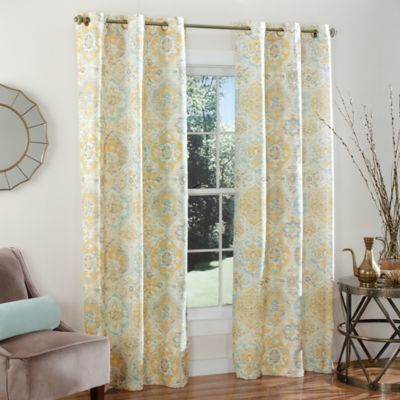 m.style Ali Baba 84-Inch Grommet Top Window Curtain Panel Pair in Yellow/Aqua