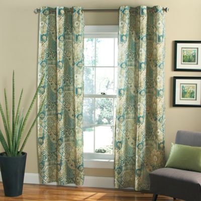 m.style Nomad 84-Inch Grommet Top Window Curtain Panel Pair in Blue