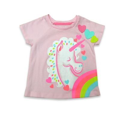 Kidtopia Size 6M Short Sleeve Unicorn Glitter Print Raglan T-Shirt in Pink/White