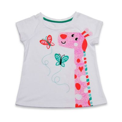 Kidtopia Size 3M Short Sleeve Giraffe Glitter Print Raglan T-Shirt in White/Pink