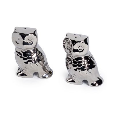 Studio TU® by Tabletops Unlimited® Sterling 3D Owl Salt and Pepper Shaker Set in Silver