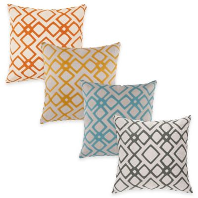 Surya Avellino 18-Inch Embroidered Geometric Square Throw Pillow in Orange