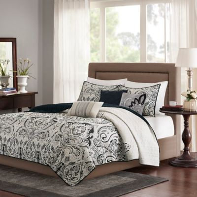 Madison Park Geneva King/California King Coverlet Set in Black