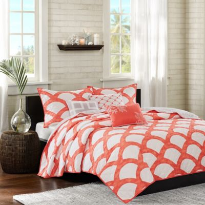 Madison Park Kokomo Full/Queen Coverlet Set in Coral