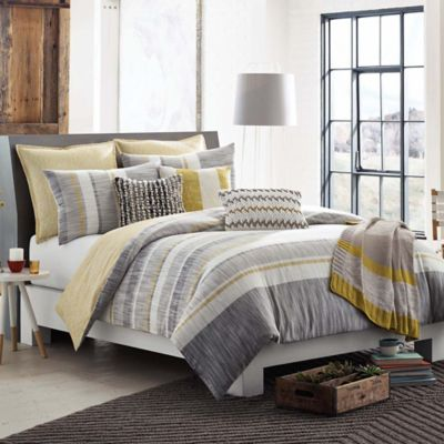KAS ROOM Logan Twin Comforter in Grey/Yellow