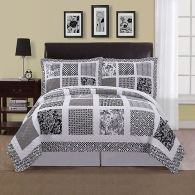 Window Pane Reversible Full/Queen Quilt Set in Black/White