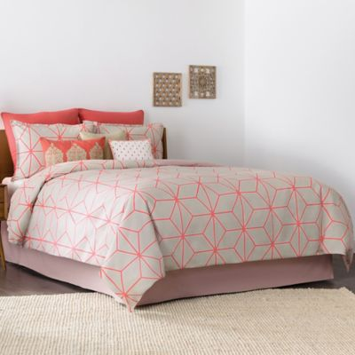 Real Simple® Tara Twin Duvet Cover in Natural/Coral