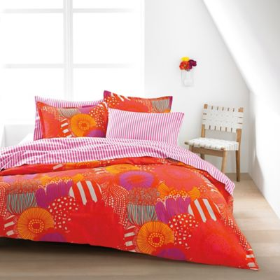Marimekko Siirtolapuutarha Twin Duvet Cover Set in Orange