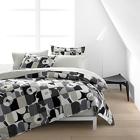 marimekko ruutu unikko duvet cover set in grey bed bath. Black Bedroom Furniture Sets. Home Design Ideas